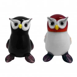 Owls Set of 2 Black and White
