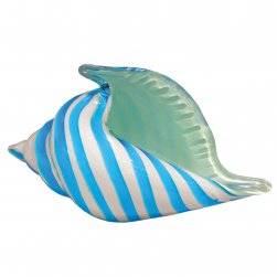 White and Blue Glass Seashell
