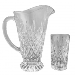GCDC-P6-10 Crystal Cut Water Pitcher and Highball Set Of 6