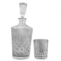 GCDC-D6-11 Crystal Cut Decanter and Tumbler Set Of 6