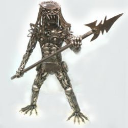 Metal Alien Predator Statue with Spear 130cm Tall